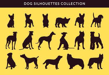Colección de silueta de bulldog francés y greayhound