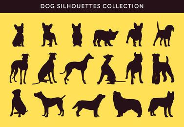 French Bulldog and Greayhound silhouette collection