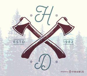 Modelo de logotipo de machado hipster