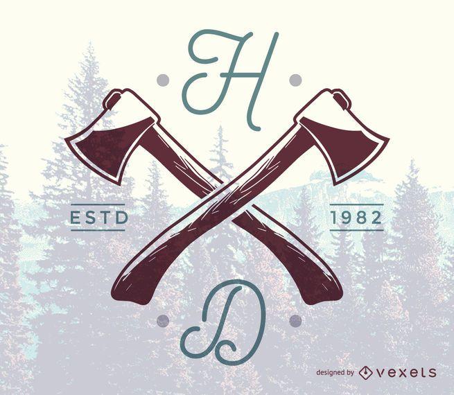 Hipster axe logo template