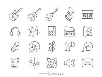 Coleção de ícone de música de acidente vascular cerebral