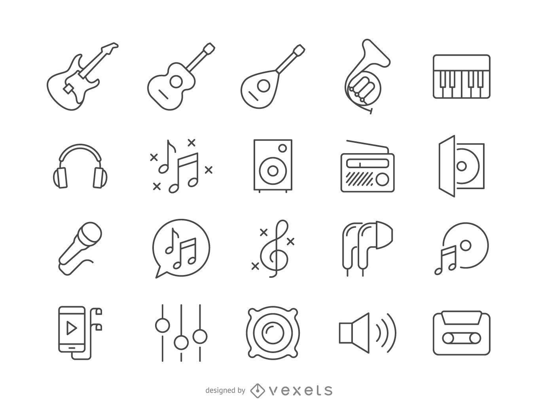 Colección de iconos de música de trazo
