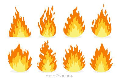 Conjunto de desenhos animados de fogo e chama