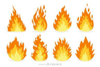Conjunto de desenhos animados de fogo e chamas