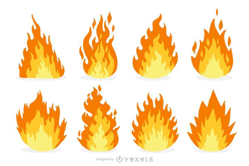 Fire and flame cartoon set