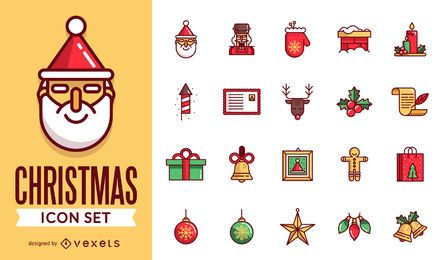 Flat stroke Christmas icon pack