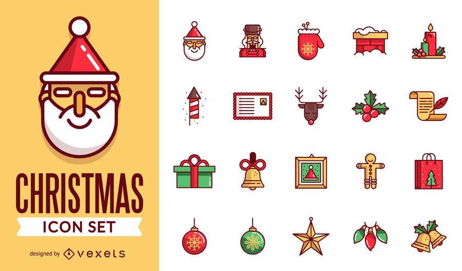 Pacote de ícones de Natal de traçado liso