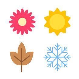 Conjunto de iconos de la temporada de dibujos animados