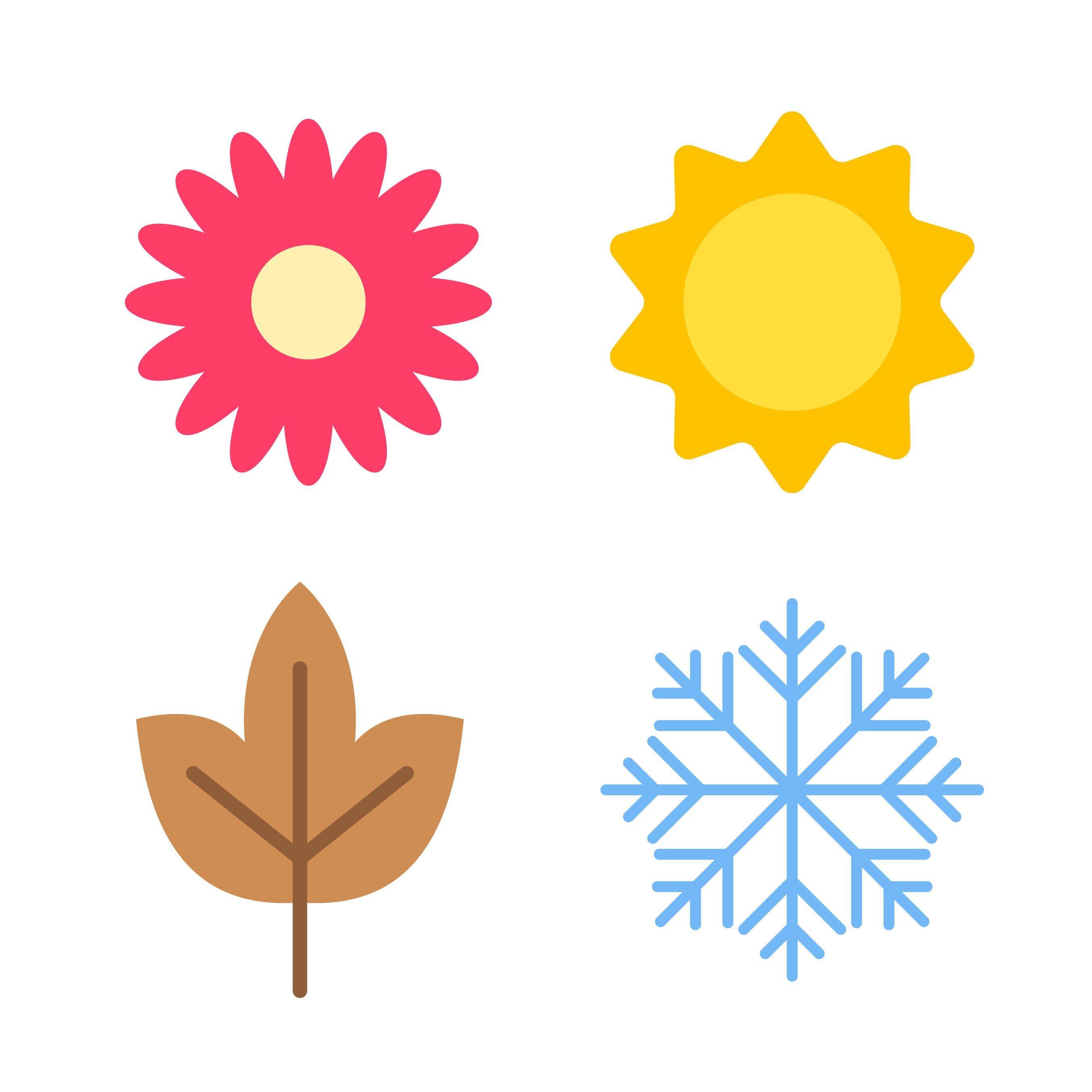 Conjunto de iconos de temporada de dibujos animados