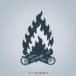 Ilustração de fogueira isolada