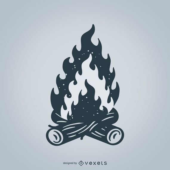 Isolated campfire illustration