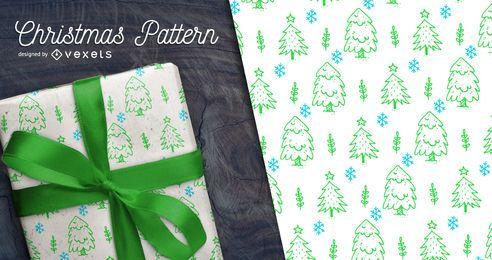 Dibujado a mano árbol de Navidad patrón transparente