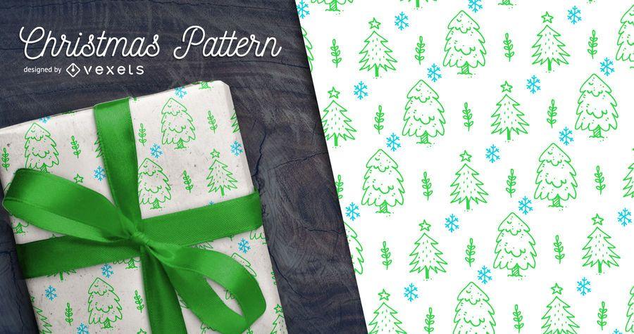 Hand gezeichnetes nahtloses Muster des Weihnachtsbaums