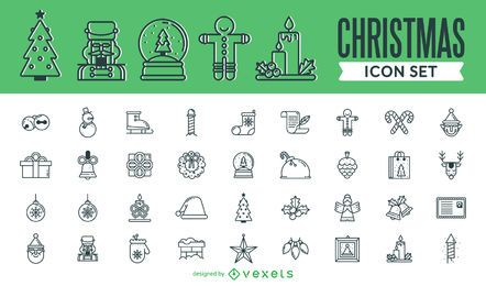 Coleção de ícone de traço enorme Natal