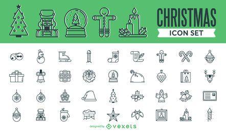 Gran colección de iconos de trazo de Navidad