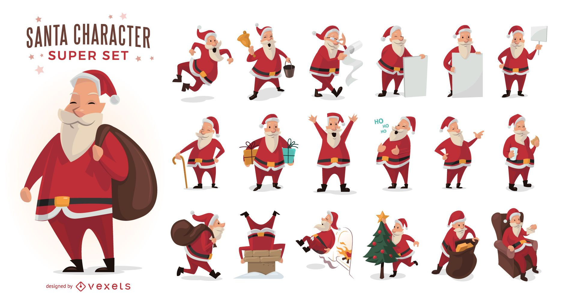 Conjunto de ilustraciones de dibujos animados de Santa Claus