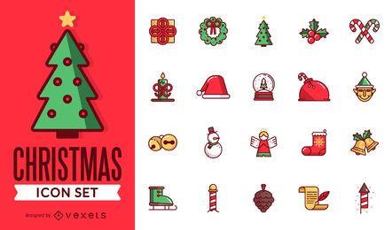 Pack de iconos de Navidad plana