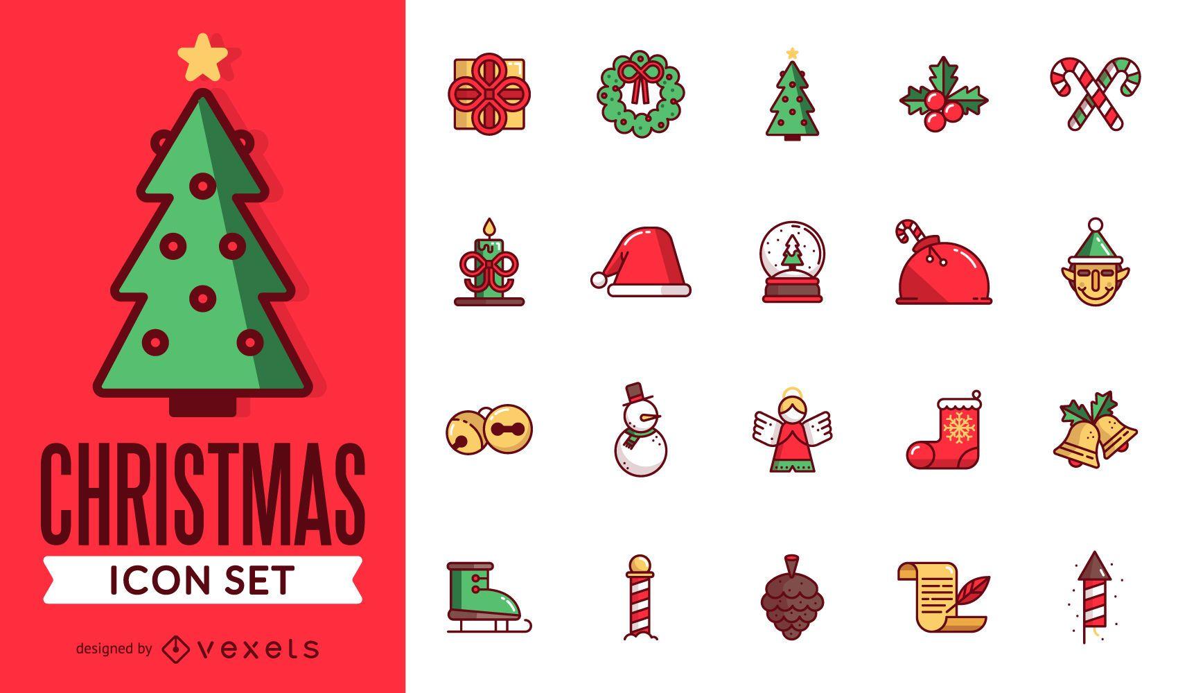 Paquete de iconos de Navidad plana