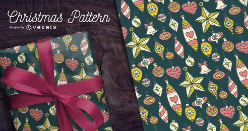 Dibujado a mano patrón de Navidad con adornos