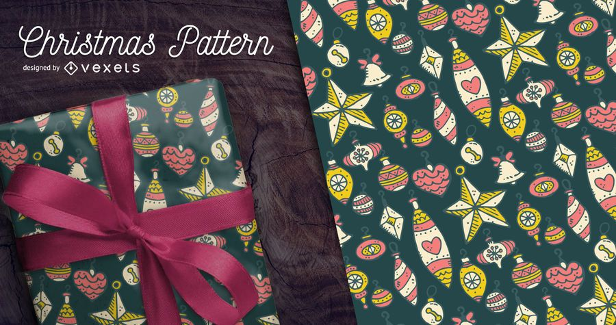 Hand-drawn Christmas pattern with ornaments