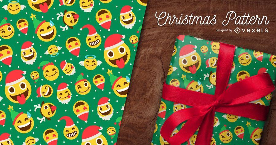 Seamless emoji Christmas pattern