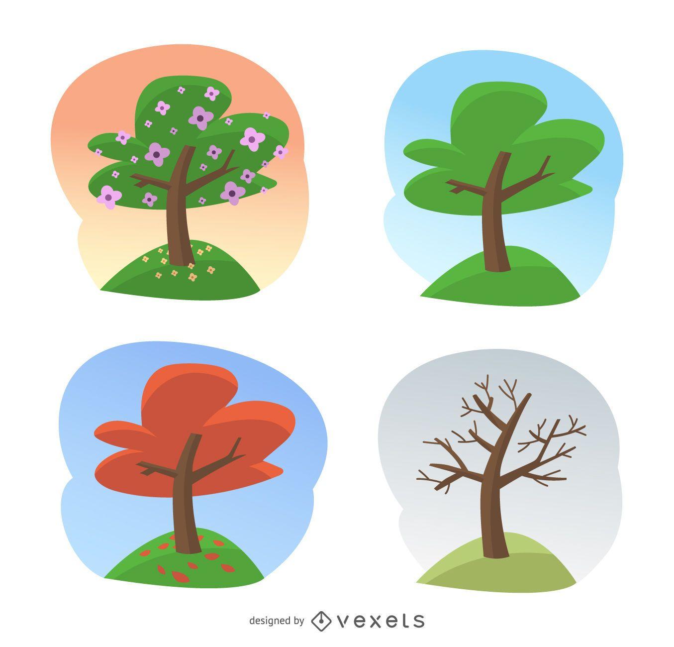 Season tree illustrations