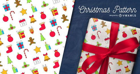 Colorful Christmas pattern with icons