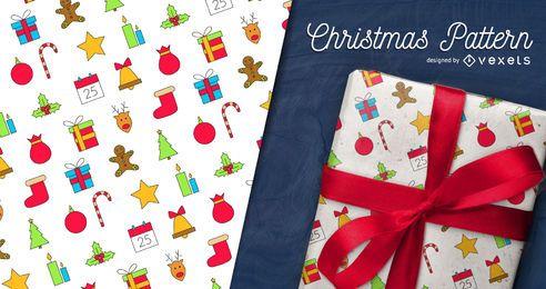 Colorido patrón de Navidad con iconos
