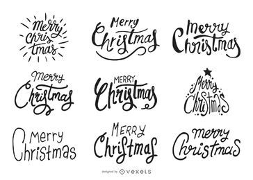 Hand drawn Christmas lettering label set