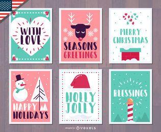 Conjunto de saludos festivos de Navidad