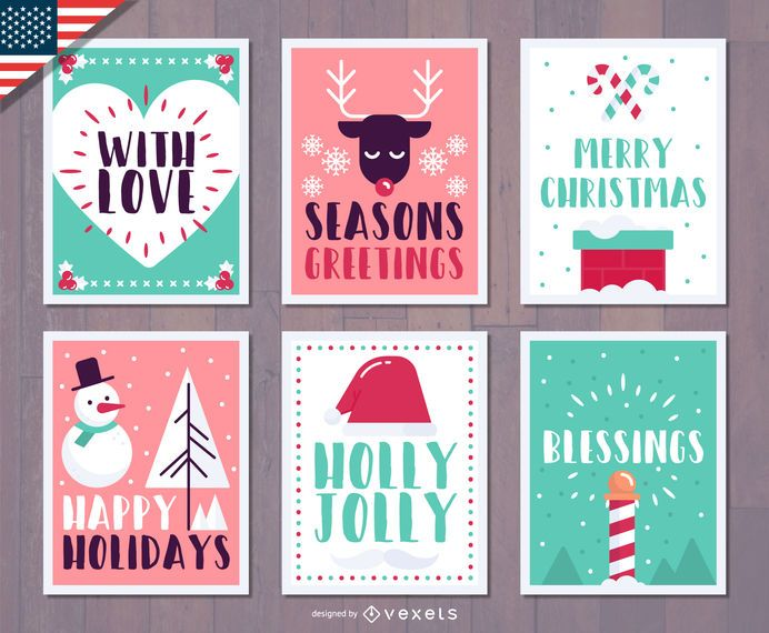 Festive Christmas greetings set