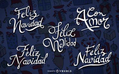 Conjunto de etiquetas Feliz Navidad