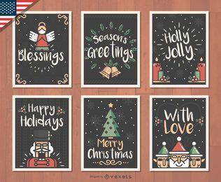 Conjunto de tarjetas de Navidad dibujado a mano