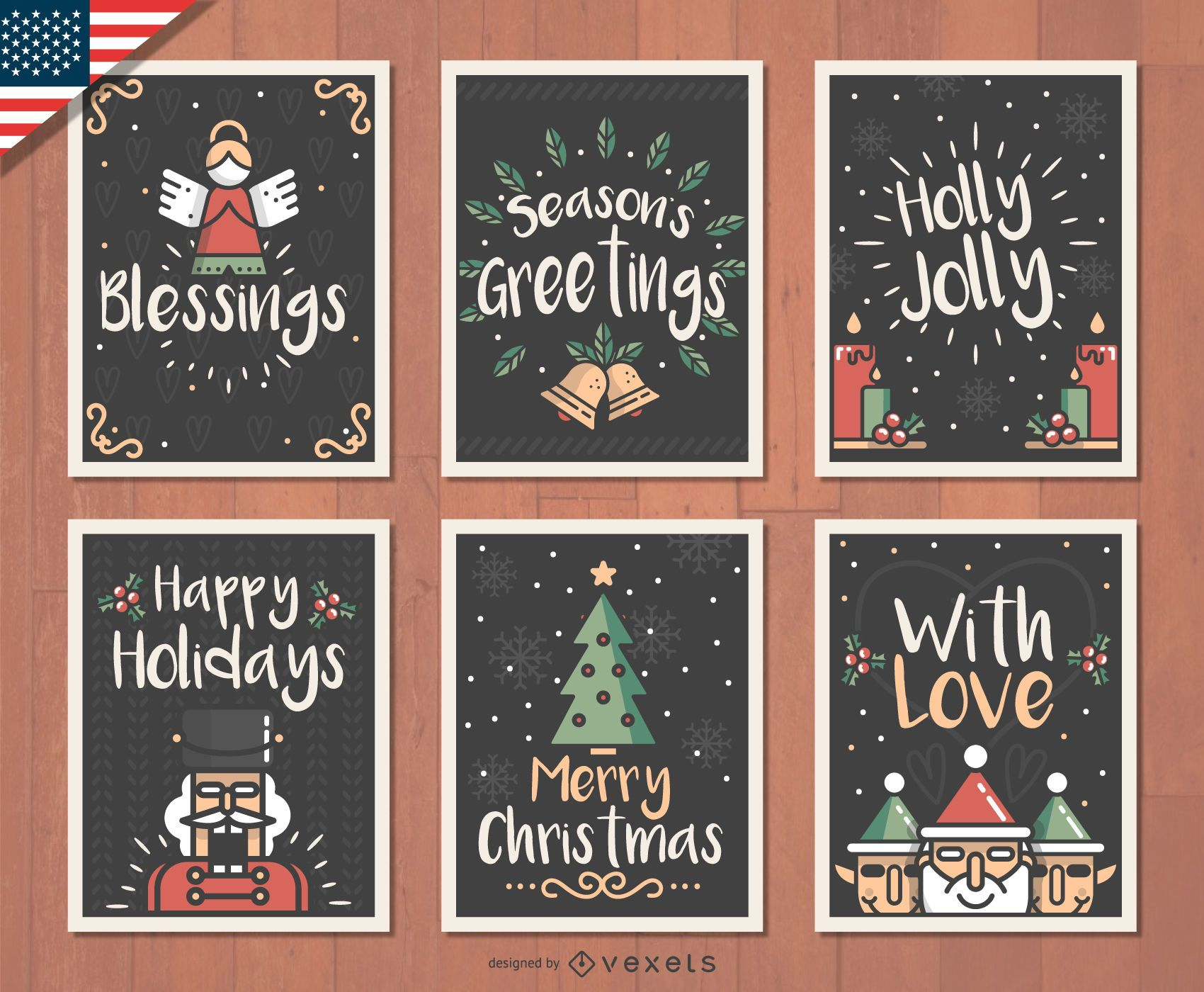 Hand drawn Christmas card set - Vector download