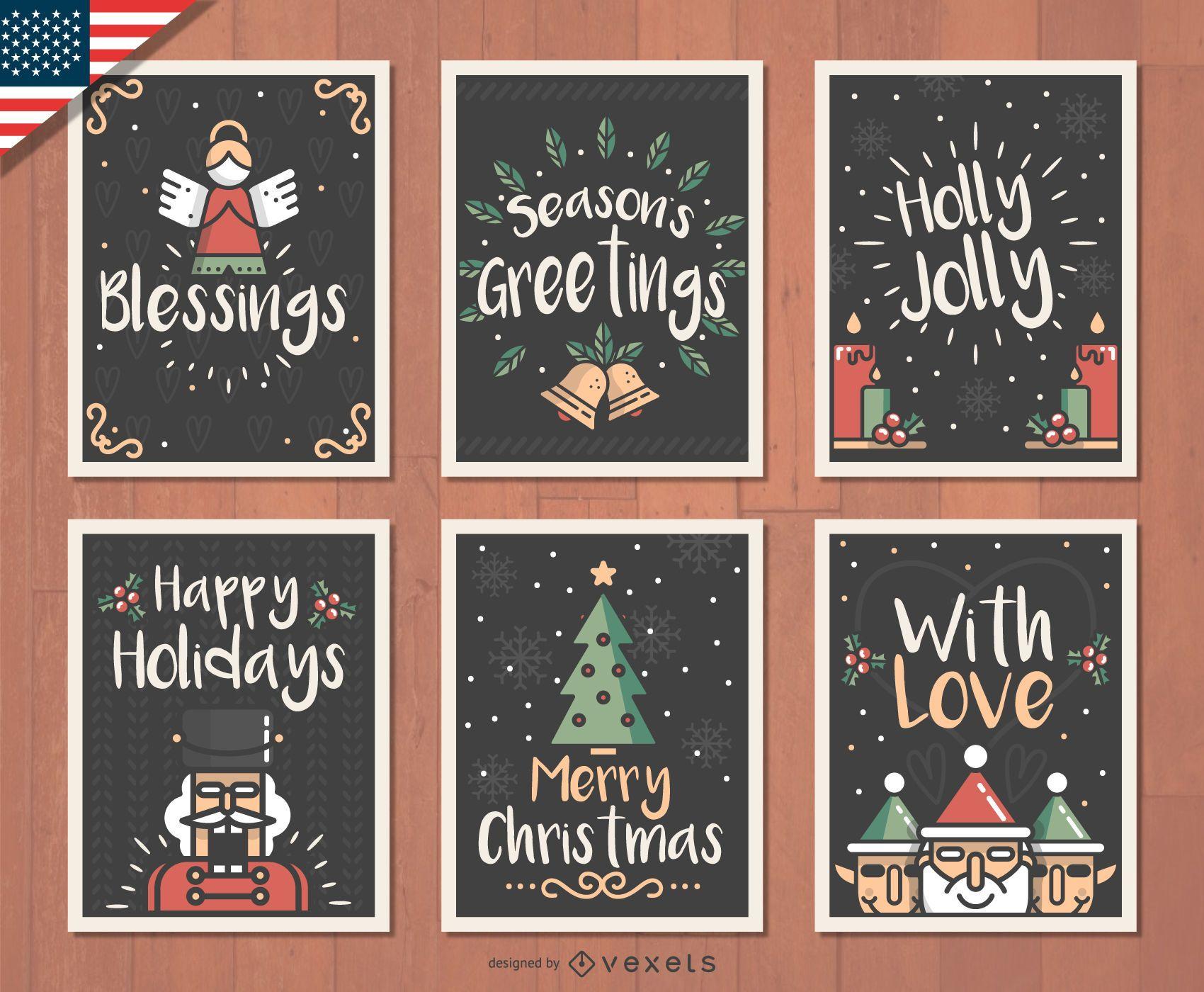 Set de tarjetas navide?as dibujadas a mano