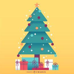 Árvore de Natal com ilustração de presentes