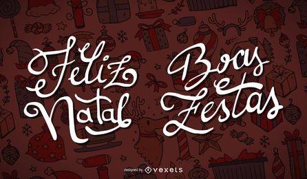 Conjunto de etiquetas de Feliz Natal Boas Festas