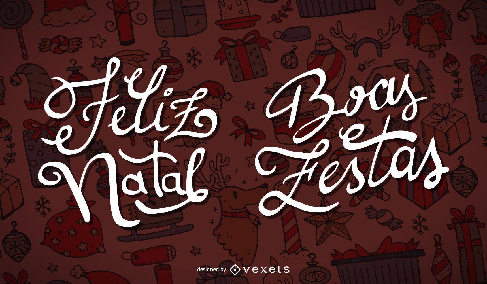 Feliz Natal Boas Festas label set