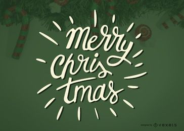Etiqueta de caligrafia do Feliz Natal