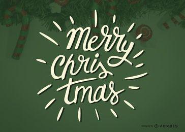 Etiqueta de la caligrafía de la Feliz Navidad
