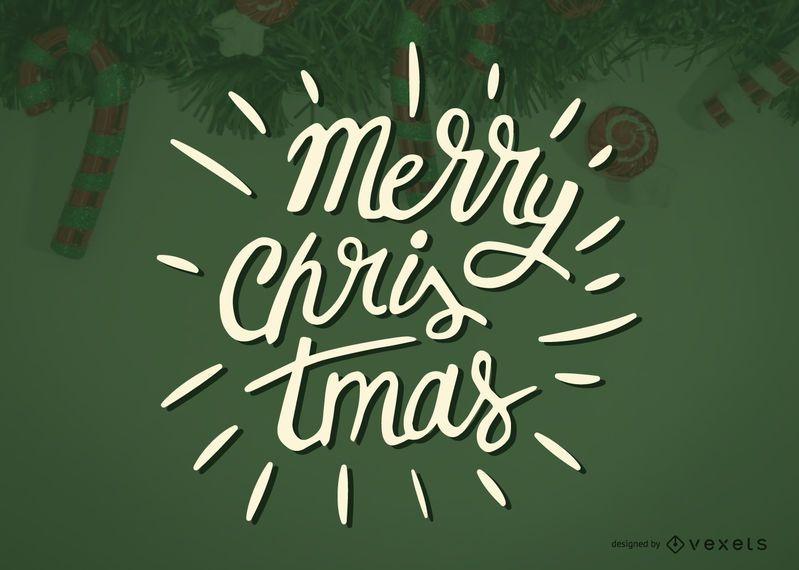 Etiqueta de caligrafía de feliz navidad