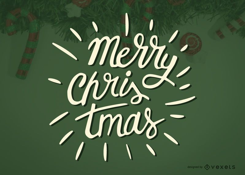 Merry Christmas calligraphy label