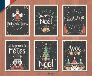 Conjunto de cartões de Natal francês Joyeux Noel