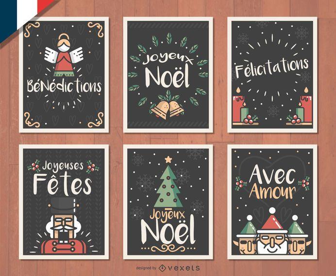 French Joyeux Noel Christmas card set