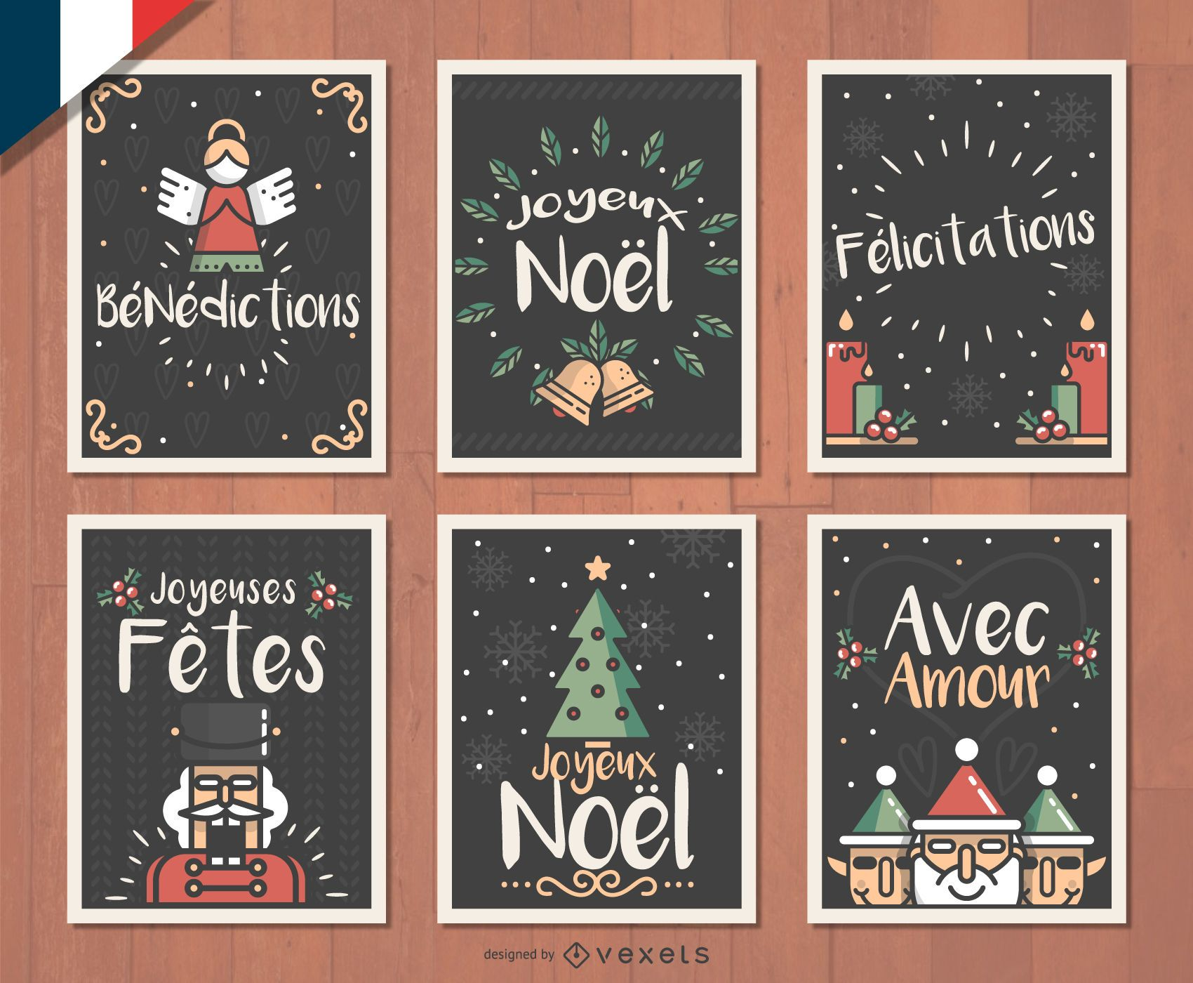French Joyeux Noel Christmas card set - Vector download