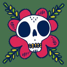 Flor desenhada à mão do crânio