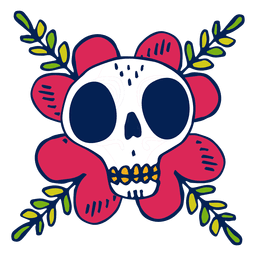Hand drawn skull flower