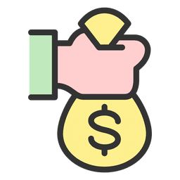 Mão segurando um saco de dinheiro