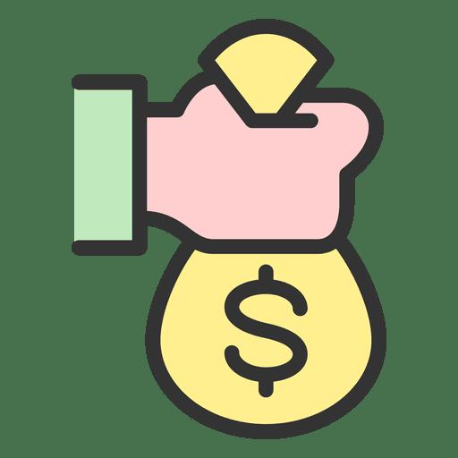 Mano que sostiene la bolsa de dinero Transparent PNG