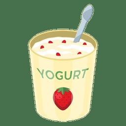 Pote de iogurte de morango